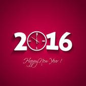 2016 happy New Year avec forme d'horloge sur fond rouge — Vecteur