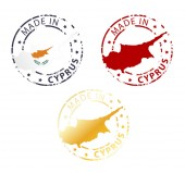 Made in Cyprus stamp - ground authentic stamp with country map — Stock Vector