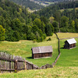 Old wooden house on the hill  somewhere in Bucovina Romania — Stock Photo #83350004