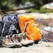 Hiking backpacks and hiker shoes — Stock Photo #52885727