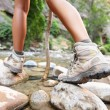 Hiking shoes on river creek — Stock Photo #52885957
