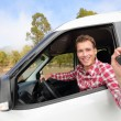 Man driving car showing car keys — Stock Photo #52886289