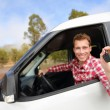 Man driving car showing car keys — Stock Photo #52886309