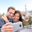 Couple talking selfie in Park Guell — Stock Photo #52887205