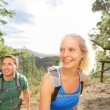 Couple hiking in forest — Stock Photo #52887357