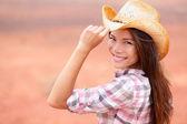 Woman smiling on american prairie — Stock Photo