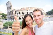 Lovers on honeymoon sightseeing — Stock Photo