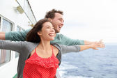 Couple in funny pose on cruise ship — Stock Photo