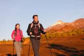 Hikers walking during hike on volcano Teide — Stock Photo