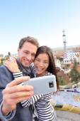 Couple talking selfie in Park Guell — Stock Photo