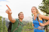 Couple on hike in forest — Stock Photo