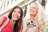 Girlfriends having fun with camera — Foto de Stock