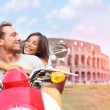 Lovers driving scooter on honeymoon — Stock Photo #54892347