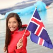 Girl holding Icelandic flag — Stock Photo #54892503