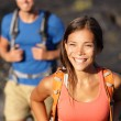 Hiking couple walking on lava field — Stock Photo #54893135
