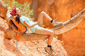 Hiker lying on trek in Bryce Canyon National Park — Stock Photo