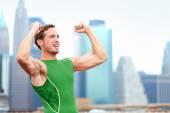 Celebrating runner in Manhattan — Stock Photo