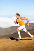 Man running in landscape nature — Stock Photo