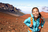 Hiker walking on volcano — Stock Photo