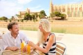 Happy couple on cafe on Mallorca — Stock Photo