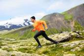 Runner training outdoors in mountain landscape — Foto Stock