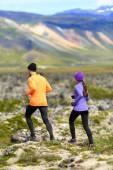 Runners on cross country trail — Stock Photo