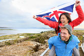 Couple with Icelandic flag — Stock Photo