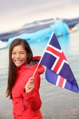 Girl holding Icelandic flag — Stock Photo
