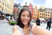 Asian woman taking selfie in Stockholm — Stock Photo