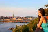 Woman looking at Stockholm — Stock Photo