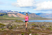 Woman trail running in nature — Foto Stock