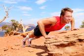 Fitness athlete training in nature — Stock Photo