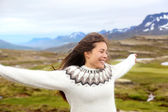 Woman wearing Icelandic sweater in Iceland — Stock Photo
