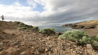 Runner jogging in nature landscape on Tenerife — Stock Video