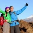 Hikers celebrating at top — Stock Photo #55353667