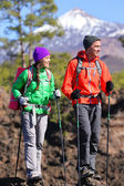 Hikers walking during on volcano Teide — Stock Photo