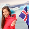 Girl holding Iceland flag — Stock Photo #62143323