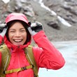 Laughing happy woman hiking — Stock Photo #62143401