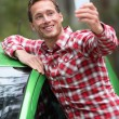 Driver by car taking selfie — Stock Photo #62143793
