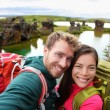Travel couple on lake Myvatn Iceland — Stock Photo #62143849