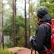 Hiker wearing hiking backpack — Foto Stock #62143975