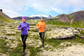 Runners on cross country trail outdoors — Stock Photo