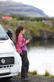 Woman by mobile motor home RV campervan — Stock Photo