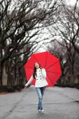 Woman with umbrella in fall in rain — Foto de Stock