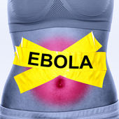 Ebola virus infection on woman stomach — Stock Photo
