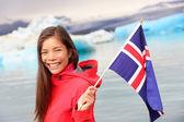Girl holding Iceland flag — Stock Photo