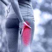 Running sports injury with female runner — Stock Photo