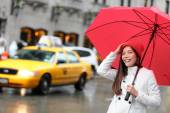Manhattan woman with fall umbrella — Foto de Stock