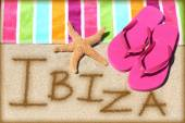 IBIZA written in sand — Stock Photo