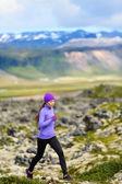 Running woman in cross country trail run — Stock Photo